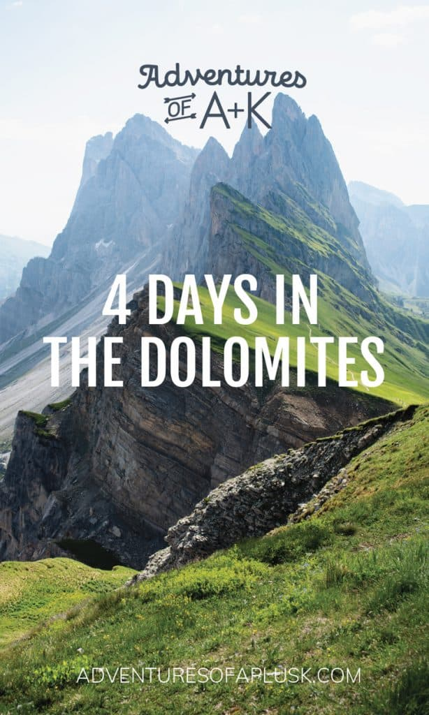 4 Days in the Dolomites | Dolomites Travel Guide | Dolomites Itinerary | Things to do in the Dolomites| Where to stay in the Dolomites | Best hikes Dolomites | What to do in the Dolomites | Dolomites Italy | Where to eat in the Dolomites | Best Dolomites Towns | Instagram Dolomites | Lago di Sorapis | Lago di Braies | Tre Cime di Lavaredo | Seceda | Ortisei Dolomites | Cortina Dolomites