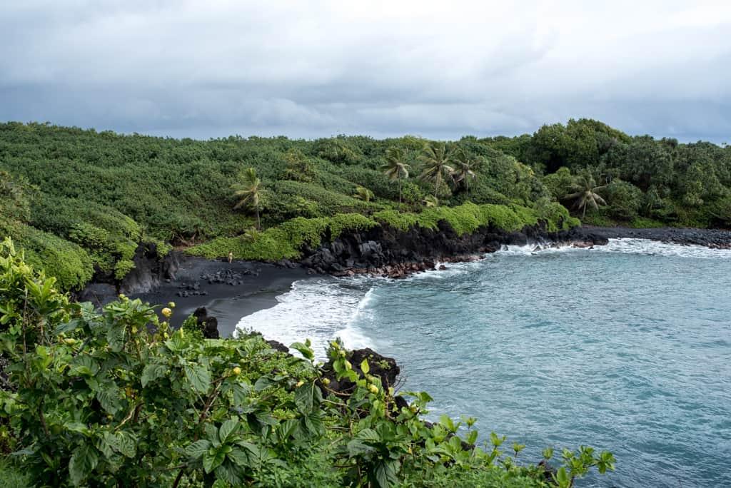 Road to Hana Guide, Driving the Road to Hana, Best stops on the Road to hana, Best Beaches on Maui Hawaii, Maui Beaches, Pa'iola Black Sand Beach at Wai'anapanapa State Park