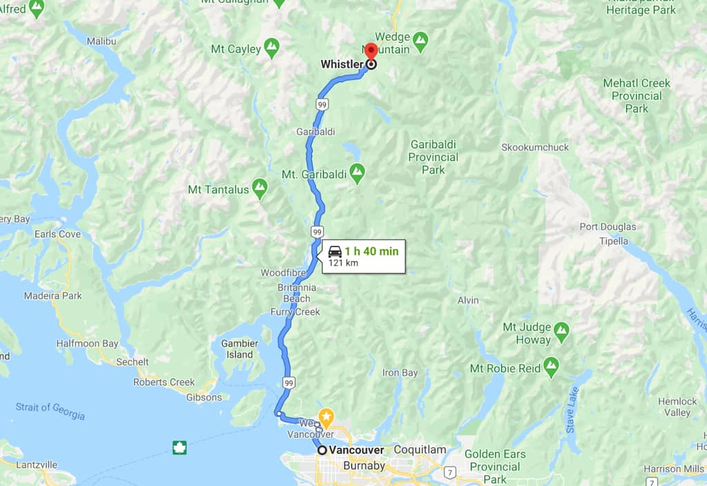 Sea to Sky Highway map