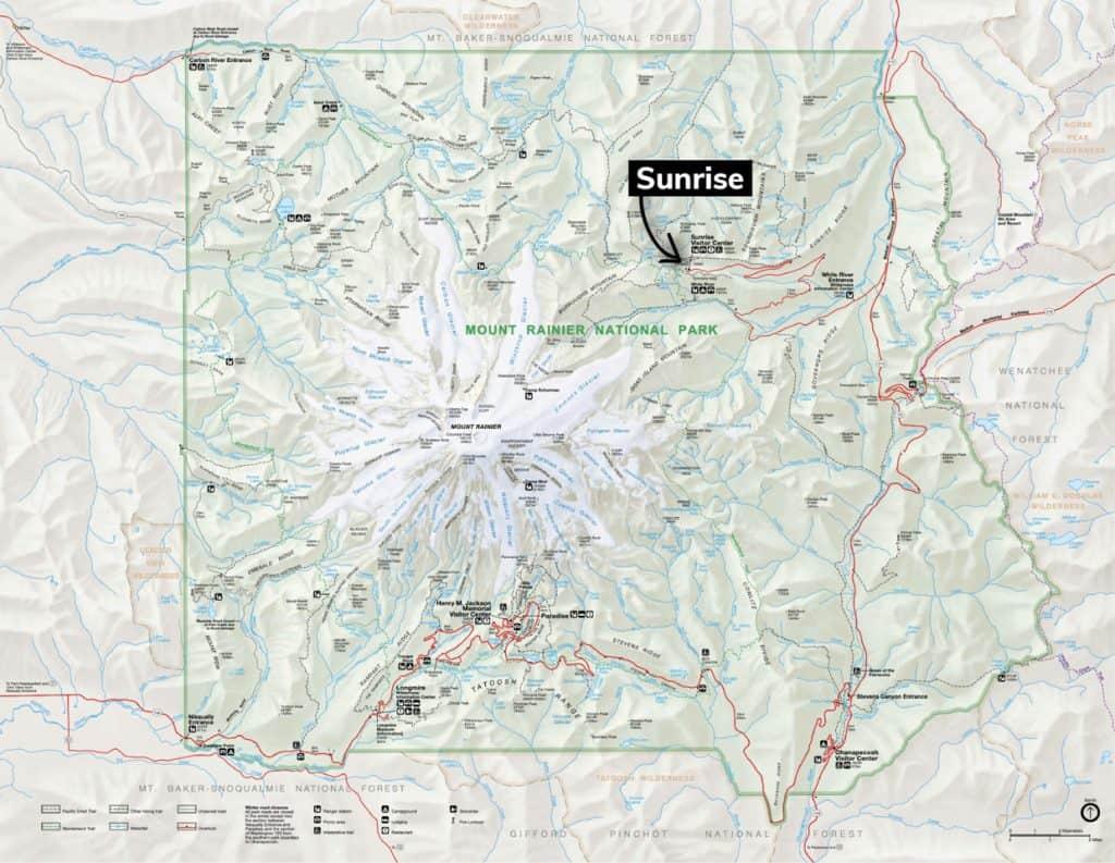 Sunrise Mount Rainier Map
