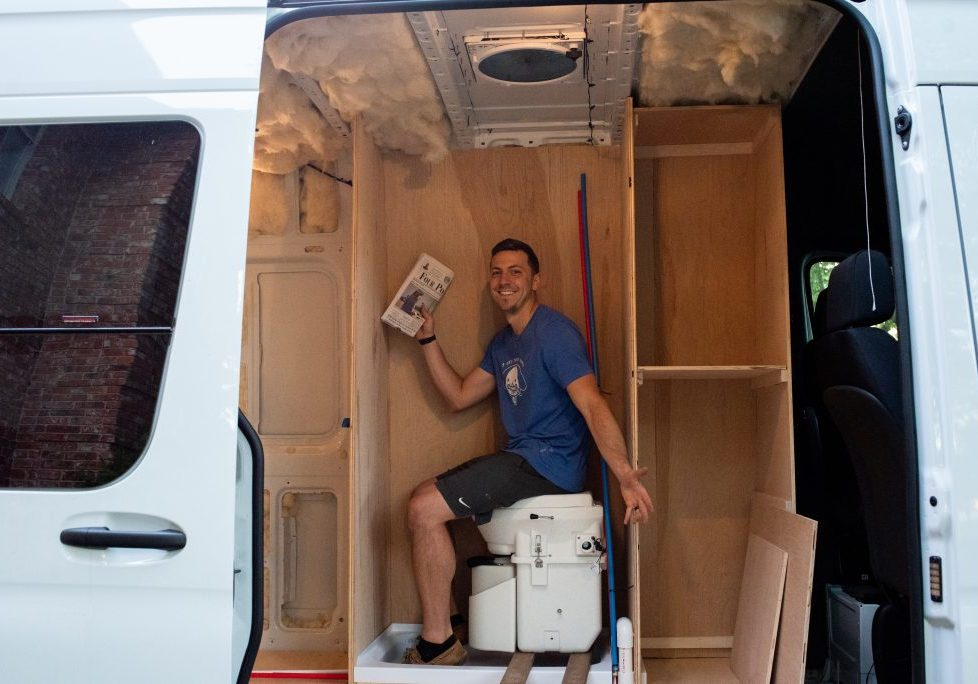 Sprinter van bathroom and shower